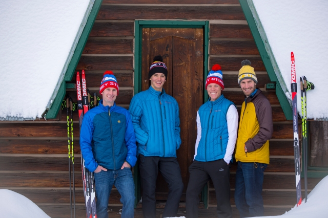 USA Nordic team members and Steamboat Springs locals Bryan Fletcher, Jasper Good, Ben Berend, and Taylor Fletcher outside of Howelsen Hill. Photo credit: Noah Wetzel